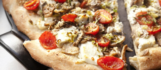 Gruyere adds a rich and savory flavor to your pizza and doesn't blister easily